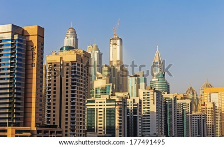 DUBAI, UAE - NOVEMBER 2: Dubai Metro as world's longest fully automated metro network (75 km) on November 2, 2013, Dubai, UAE.