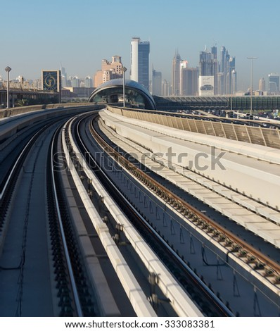 DUBAI, UAE - NOVEMBER 18: Dubai Metro as world's longest fully automated metro network (75 km) on November 18, 2012, Dubai, UAE.