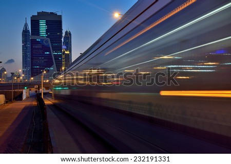 DUBAI, UAE - NOVEMBER 22: Dubai opened it's first Tram service from Nov-11-2014 from Dubai Marina to Al Sufouh area photo taken on November 22, 2014, Dubai, UAE. - stock photo