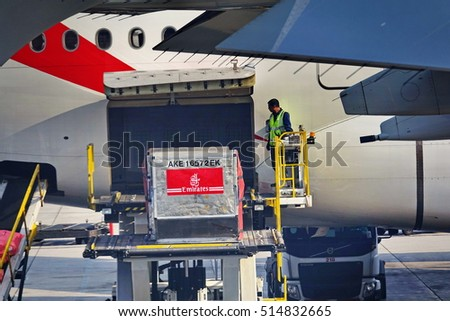 DUBAI, UAE - NOVEMBER 4, 2016: Emirates Boeing loaded at Dubai Airport