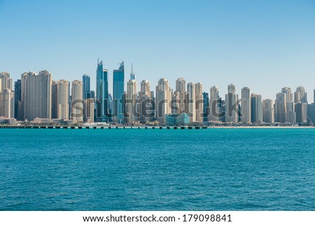 DUBAI, UAE - NOVEMBER 7: General view of the Dubai Marina, on November 7, 2013, Dubai, UAE. In the city of artificial channel length of 3 kilometers along the Persian Gulf.