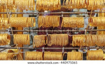 DUBAI, UAE - NOVEMBER 9, 2013: Gold market in Deira, Gold Souq - stock photo
