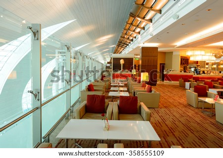 DUBAI, UAE - NOVEMBER 16, 2015: interior of Emirates business class lounge. Emirates is the largest airline in the Middle East. It is an airline based in Dubai, United Arab Emirates. - stock photo