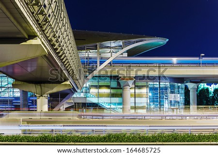 DUBAI, UAE - NOVEMBER 11: Metro subway station at night in Dubai. Metro as world's longest fully automated metro network (75 km) on November 11, 2013, Dubai, UAE. - stock photo