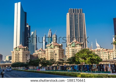 DUBAI, UAE - NOVEMBER 13: Modern skyscrapers in Dubai (emirate and city), UAE.  Dubai is the most expensive city in the Middle East, taken on 13 November 2012 in Dubai.