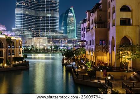 DUBAI, UAE - NOVEMBER 13, 2013: Night view Bur Dubai. - stock photo