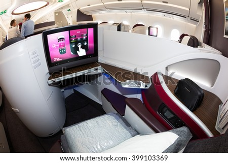 Dubai, UAE - NOVEMBER 08, 2015: Qatar Airways Airbus A350 business class seats. Qatar Airways business class cabin. Qatar airways luxury business class travel on November 08, 2015 in Dubai - stock photo