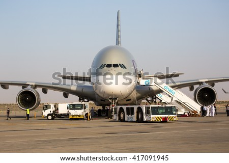 Dubai, UAE - NOVEMBER 10, 2015: Qatar Airways Airbus A380. Largest passenger aircraft. Airbus A380 airplane. Biggest passenger aircraft on November 10, 2015 in Dubai - stock photo