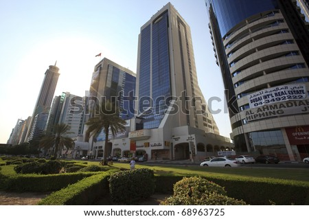 DUBAI, UAE - NOVEMBER 22: Skyscrapers Sheikh Zayed Road on November 22, 2010 in Dubai, UAE. Skyscrapers Downtown Dubai on the Sheikh Zayed Road.