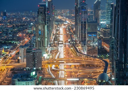 DUBAI, UAE - November 15 - The tall towers of Sheikh Zayed Road showcase much of Dubai's modern architectural developments 20 years ago it was only a desert here. Picture taken on November 15, 2014. - stock photo