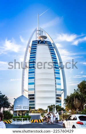 DUBAI, UAE - NOVEMBER 14 :The world's first seven star luxury hotel Burj Al Arab, November 14, 2013 in Dubai, United Arab Emirates - stock photo
