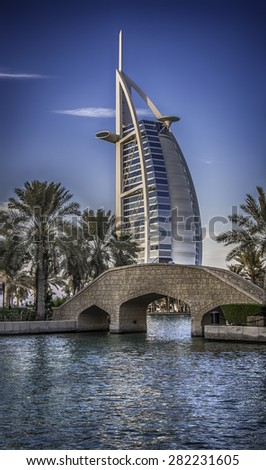 DUBAI, UAE - NOVEMBER 2 :The world's first seven stars luxury hotel Burj Al Arab ,November 2, 2014 in Dubai, United Arab Emirates - stock photo