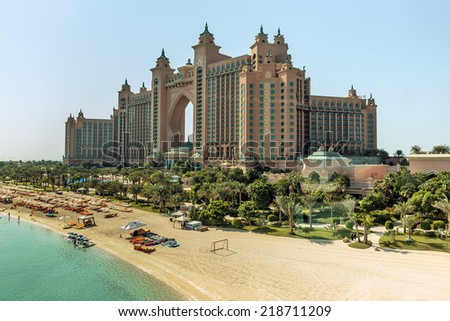 DUBAI, UAE-NOVEMBER 3: View Atlantis Hotel on November 3, 2013 in Dubai, UAE. The resort consists of two towers linked by a bridge, with a total of 1539 rooms. - stock photo