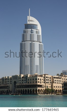 DUBAI, UAE-NOVEMBER 13: View of Hotel The Address in The Dubai Mall, the world's largest shopping and entertainment centre on November 13, 2013 in Dubai, UAE
