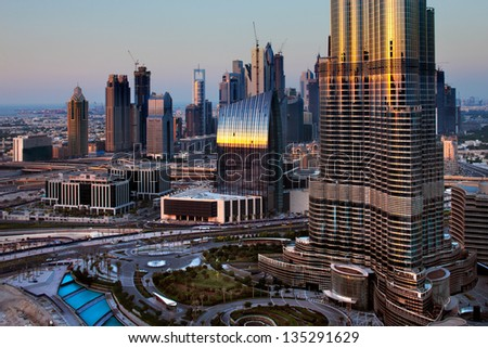 DUBAI, UAE OCT 17:A skyline view of Downtown Dubai and the Burj Khalifa on Oct 17, 2010 in Dubai, UAE. Dubai has been transformed in just one decade. It has become known as a playground for architects - stock photo