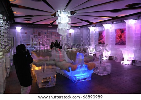 DUBAI, UAE - OCT 19: Interior View of Chill Out Bar the one and only  Indoor Ice Bar in the middle east at October 19, 2010 in Dubai, United Arab Emirates.
