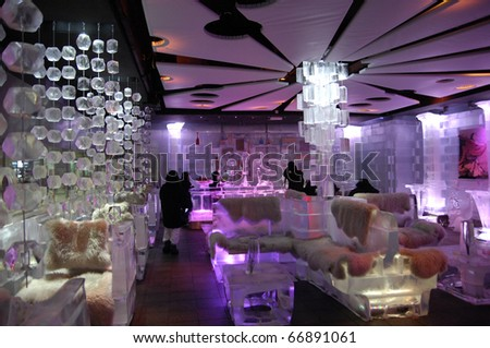DUBAI, UAE - OCT 19: Interior View of Chill Out Bar the one and only  Indoor Ice Bar in the middle east at October 19, 2010 in Dubai, United Arab Emirates. - stock photo