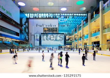 DUBAI, UAE - OCT 7: The ice rink of the Dubai Mall on Oct 7, 2010 in Dubai, UAE. Dubai Mall is the largest shopping mall in the world with some 1200 stores - stock photo