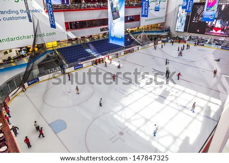 DUBAI, UAE - OCT 7: The ice rink of the Dubai Mall on Oct 7, 2012 in Dubai, UAE. Dubai Mall is the largest shopping mall in the world with some 1200 stores