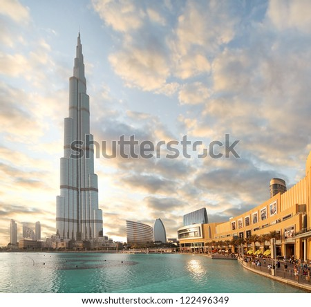 DUBAI, UAE - OCTOBER 23: Burj khalifa, the highest building in the world, Downtown on October 23, 2012 in Dubai, UAE - stock photo