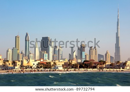DUBAI, UAE - OCTOBER 16: Dubai downtown and Burj Khalifa, October 16, 2011 in Dubai, UAE. Burj Khalifa is a tallest building in the world, at 828m. - stock photo