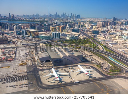 Dubai, UAE - October 10: Dubai view from the top of the aircraft on 10 October 2014, Dubai, UAE. views of Dubai on arrival at the airport in Dubai. - stock photo
