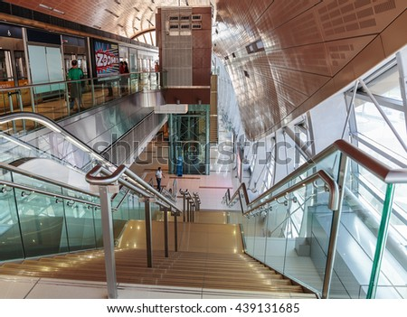 DUBAI, UAE - OCTOBER 31, 2013: Interior of metro station in Dubai. Metro as world's longest fully automated metro network (75 km).