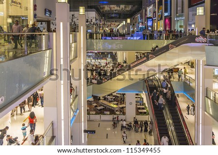 DUBAI, UAE - OCTOBER 1: Interior View of Dubai Mall - world's largest shopping mall based on total area and sixth largest by gross leasable area, October 1, 2012 in Dubai, United Arab Emirates. - stock photo