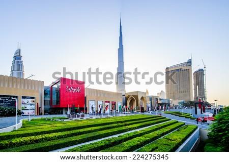 DUBAI, UAE - OCTOBER 14: Main Entrance to the Dubai Mall. October 14, 2014 in Dubai, United Arab Emirates - stock photo
