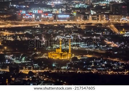 DUBAI, UAE - OCTOBER 1, 2012: Night view Down town of Dubai city from Burj Khalifa. United Arab Emirates. - stock photo