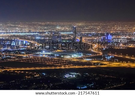 DUBAI, UAE - OCTOBER 1, 2012: Night view Down town of Dubai city from Burj Khalifa. United Arab Emirates.