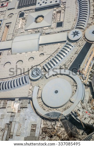 Dubai, UAE - October 03: Roof of Dubai Mall in Dubai, UAE on October 03 2015. It is the world's largest shopping mall based on total area and fourth largest by gross leasable area - stock photo