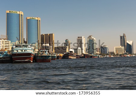 DUBAI, UAE-OCTOBER 30: Ship in Port Saeed on November 30, 2013 in Dubai, UAE. The oldest commercial port of Dubai