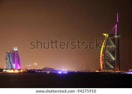 DUBAI, UAE - OCTOBER 16: The grand sail shaped Burj al Arab Hotel taken Oktober 16, 2011 in Dubai. The hotel is classed as one of the most luxurious in the world and is located on a man made island.