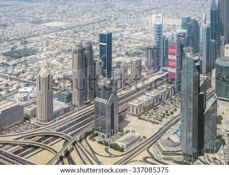 Dubai, UAE - October 03: Urban landscape of Dubai, UAE on October 03 2015. Dubai is is the most populous city in the United Arab Emirates popular by its luxury resorts. - stock photo