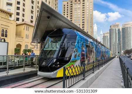 Dubai, UAE on 29th Nov 2016: The Dubai RTA is a integrated transportation systems for residents of Dubai. It comprises of Metro, Tram, Abras,  Bus, Water Bus, and Water Taxi's