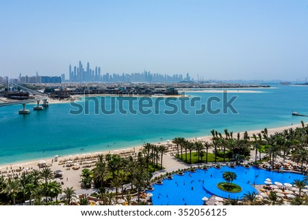 DUBAI, UAE - SEPTEMBER 7, 2015: A wonderful beach in 5 stars Hotel Atlantis (1,539 spacious guest rooms including 166 suites) on man-made island of Palm Jumeirah. United Arab Emirates.