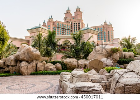 DUBAI, UAE - SEPTEMBER 7, 2015: Building of 5-stars Hotel Atlantis (1,539 spacious guest rooms including 166 suites) on man-made island of Palm Jumeirah. United Arab Emirates. - stock photo
