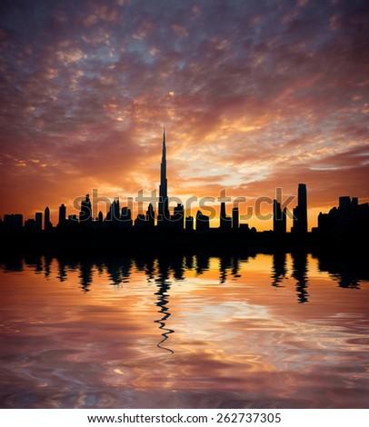 Dubai, United Arab Emirates. Beautiful beach and sea at sunset - stock photo