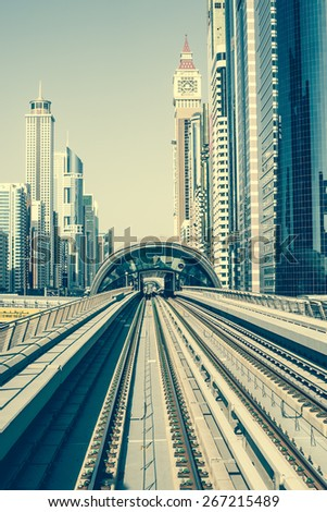 Dubai, United Arab Emirates - December 19, 2013: Dubai Metro is world's longest driver less, fully automated metro network in Dubai, United Arab Emirates - stock photo