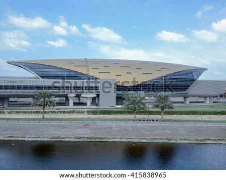 DUBAI, UNITED ARAB EMIRATES - DECEMBER 31, 2013 -  futuristic metro station in the capital of luxury in the city in the desert