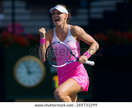 DUBAI, UNITED ARAB EMIRATES - FEBRUARY 18 : Lucie Safarova celebrates match point at the 2015 Dubai Duty Free Tennis Championships WTA Premier 5 tennis tournament - stock photo