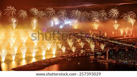 DUBAI, UNITED ARAB EMIRATES -JANUARY 1, 2014: The World's Largest Firework Show displayed on Dubai's Palm Jumeirah  - stock photo