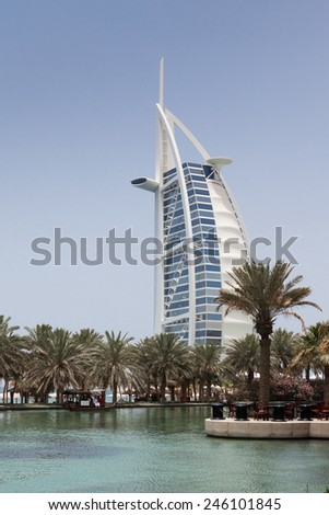 "DUBAI, UNITED ARAB EMIRATES - MAY 5: Burj Al Arab (Tower of the Arabs), a luxury 5 Star hotel located in Dubai, United Arab Emirates on May 5, 2012. It is called ""The world's only 7 star Hotel"". - stock photo"