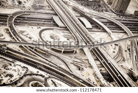 Dubai Urban Infrastructure Aerial - stock photo