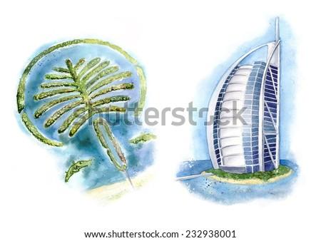 Dubai views illustration. Palm Jumeirah and a hotel Burj Al Arab. Made in watercolor - stock photo