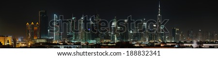 Dubai. World Trade center and Burj Khalifa at night - stock photo