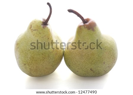 Duble pears isolated on the white background with shadow. - stock photo