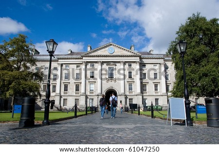 DUBLIN - AUGUST 22: Trinity College is Ireland's oldest university founded in 1592. Ranked as the 43rd best university worldwide. Trinity College on August 22, 2010 in Dublin, Ireland. - stock photo