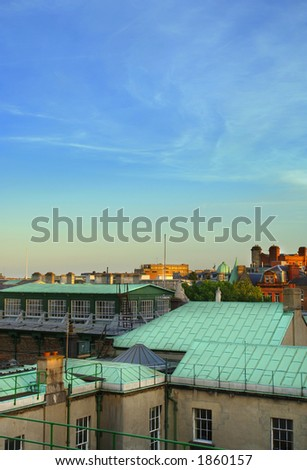 Dublin City, Rooftops - stock photo